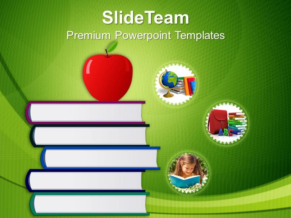 Education Powerpoint Templates | Stack Of Books And Apple Education Powerpoint Templates Ppt