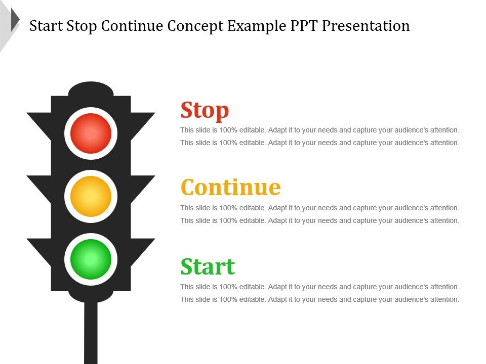 Start stop continue concept example ppt presentation for Start stop continue template