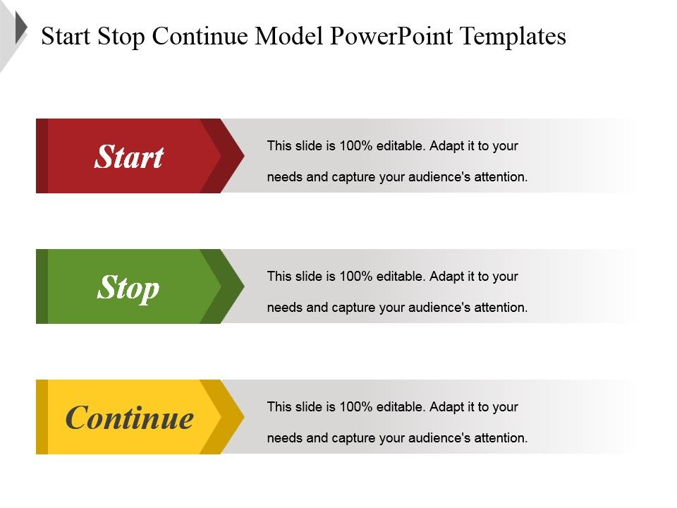 86750099 style layered vertical 3 piece powerpoint for Start stop continue template