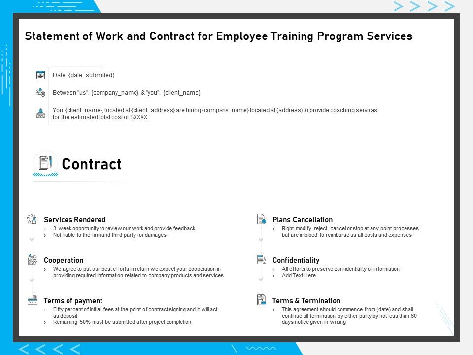 Statement Of Work And Contract For Employee Training Program Services Ppt Styles Presentation Graphics Presentation Powerpoint Example Slide Templates