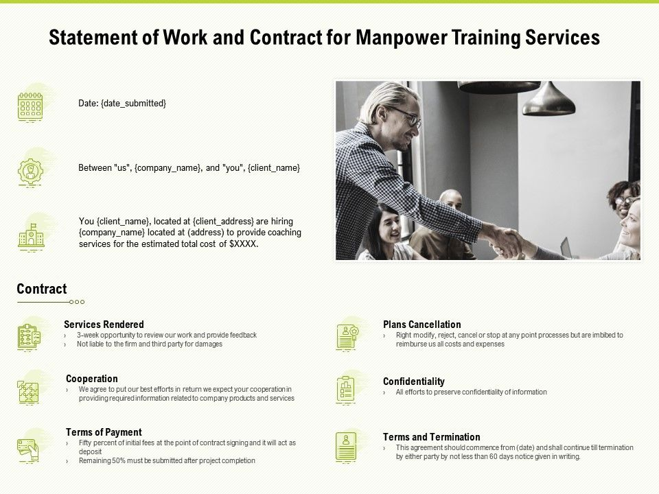 Statement Of Work And Contract For Manpower Training Services Ppt Powerpoint Presentation