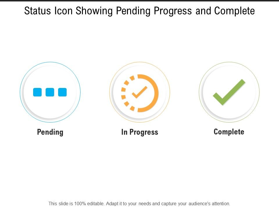 status icon showing pending progress and complete