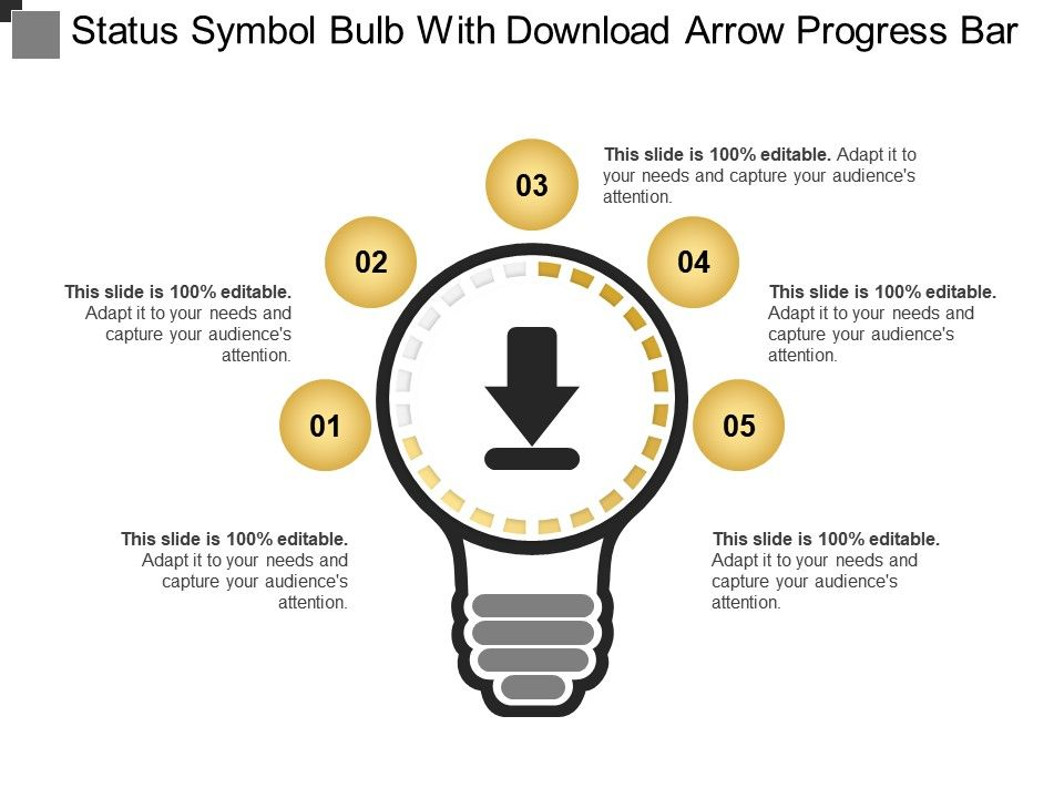 Status Symbol Bulb With Download Arrow Progress Bar Powerpoint