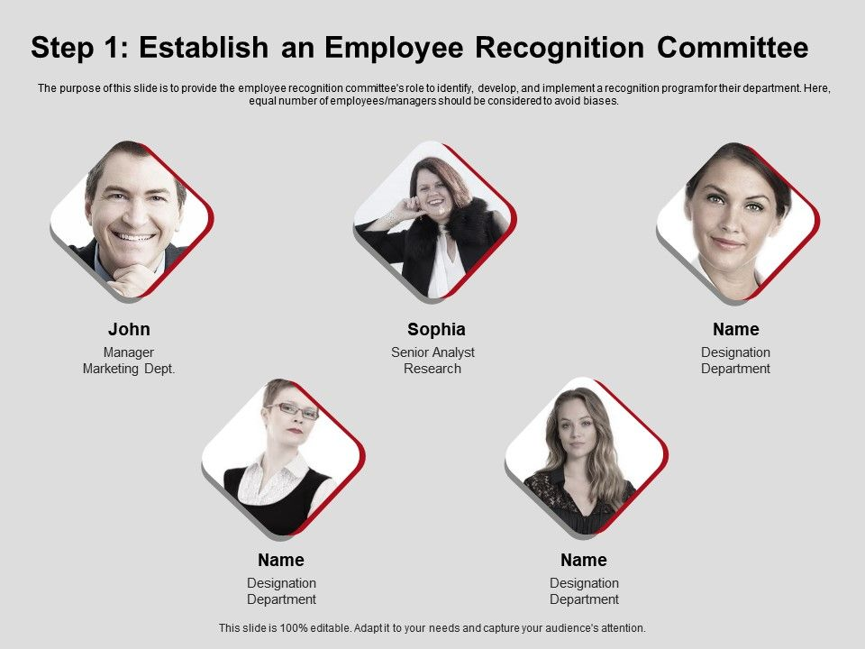 Step One Establish An Employee Recognition Committee Ppt Powerpoint Presentation Visuals