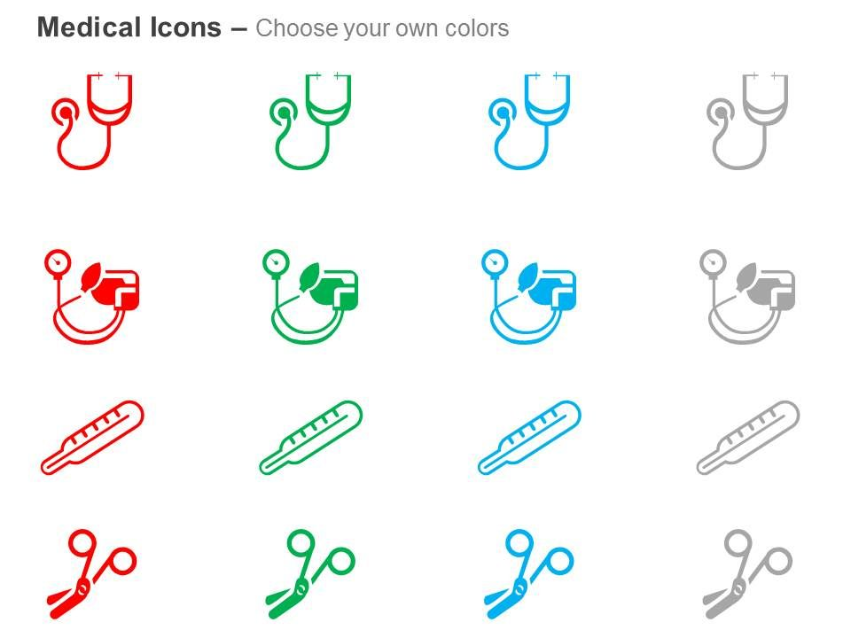 stethoscope thermometer scissor blood pressure test ppt icons, Powerpoint templates