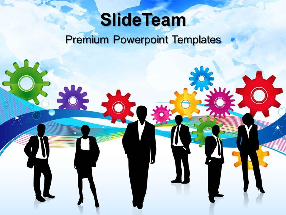 stock gear powerpoint templates colored gears business leadership ppt slide