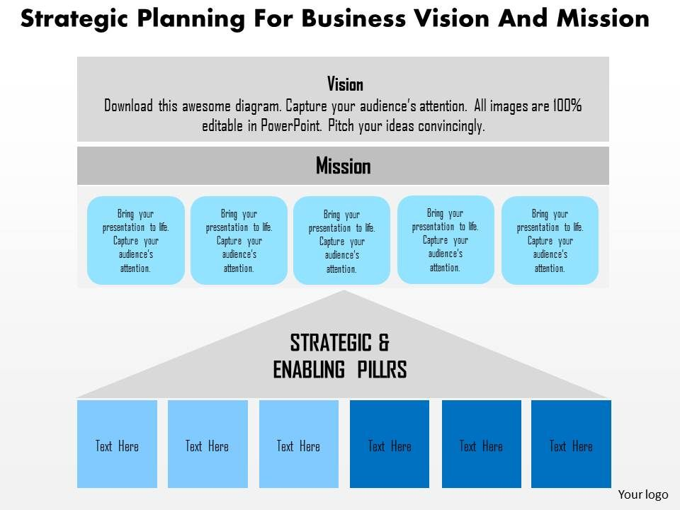 Strategic Planning For Business Vision And Mission Flat Powerpoint Design Powerpoint