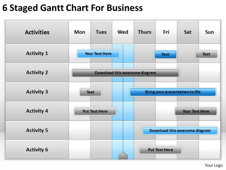 strategic planning staged gantt chart for business powerpoint templates ppt backgrounds slides 0618. Black Bedroom Furniture Sets. Home Design Ideas
