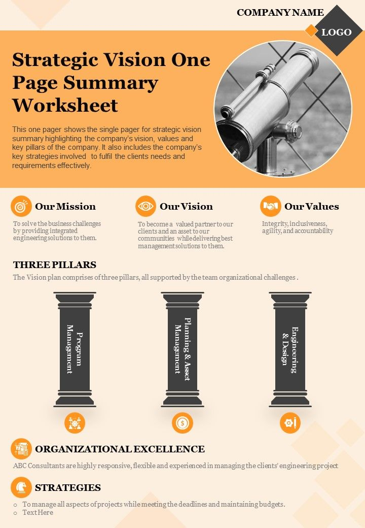 Strategic Vision One Page Summary Worksheet Presentation Report Infographic PPT PDF Document