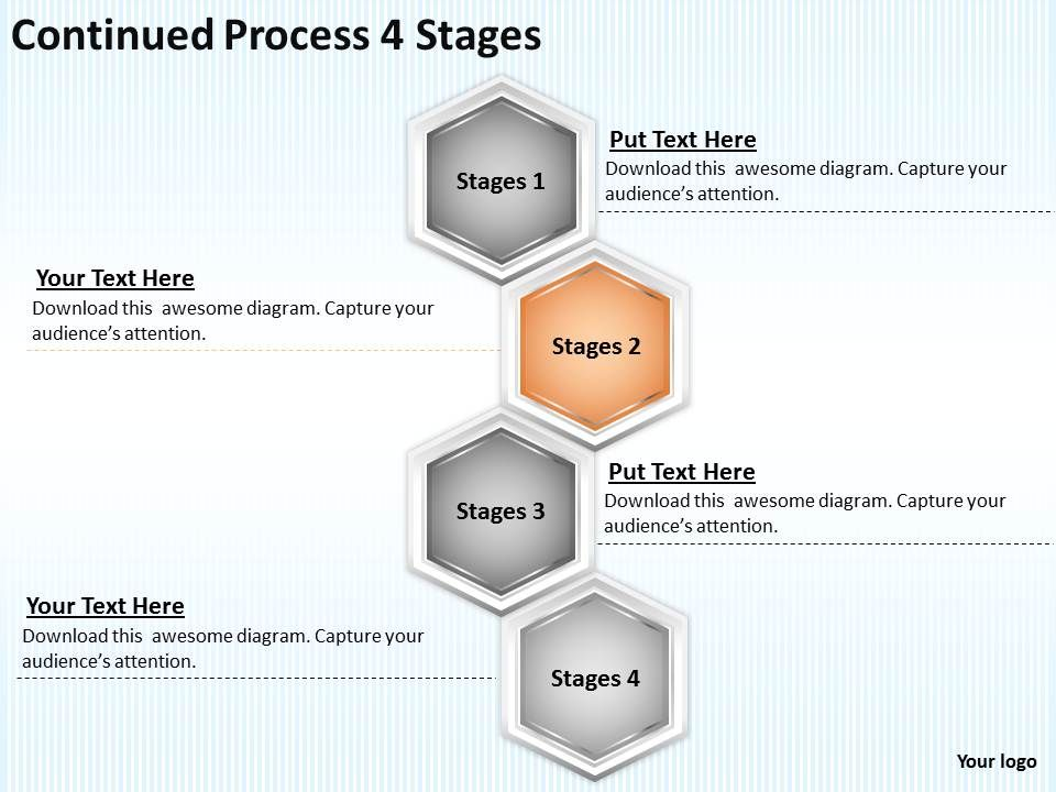 strategy consulting continued process 4 stages powerpoint, Modern powerpoint