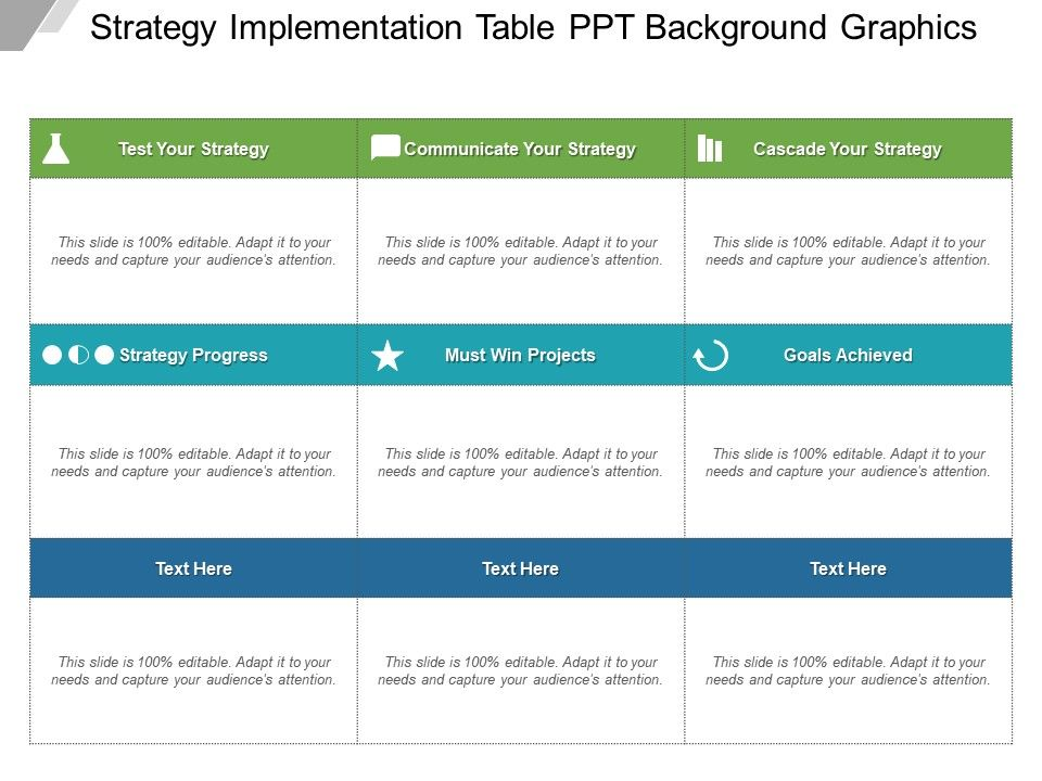Strategy Implementation Table Ppt Background Graphics   Graphics