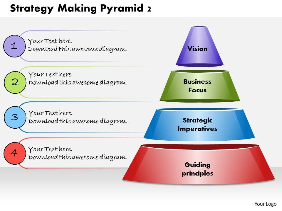 strategy making pyramid 2 powerpoint presentation slide template, Presentation Pyramid Template, Presentation templates