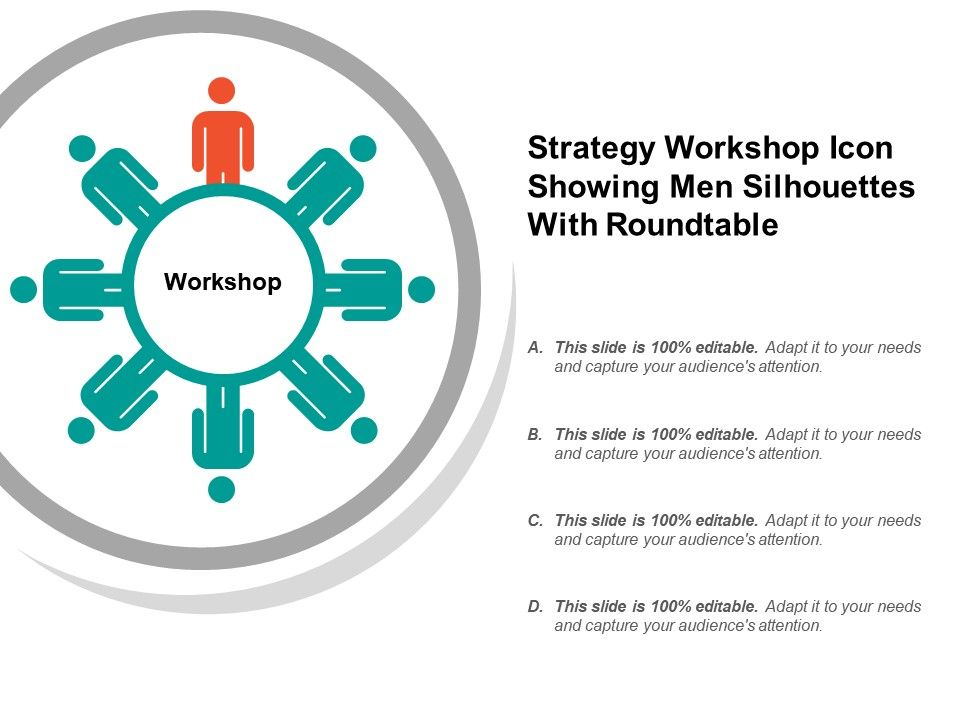 Strategy Workshop Icon Showing Men Silhouettes With Roundtable