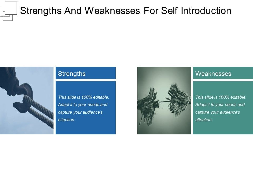 Strengths And Weaknesses For Self Introduction Presentation Graphics ...