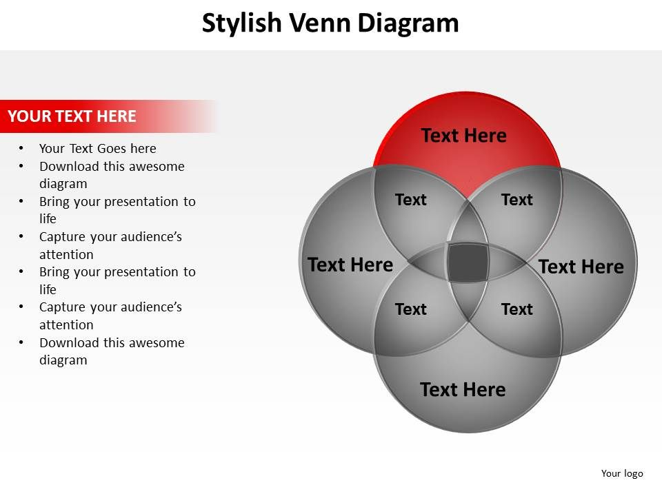 Stylish venn diagram with 4 circles overlapping for education stylishvenndiagramwith4circlesoverlappingforeducationschoolingpowerpointgraphics712slide02 ccuart Choice Image