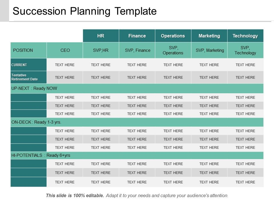 Succession planning template ppt sample download for Executive succession planning template