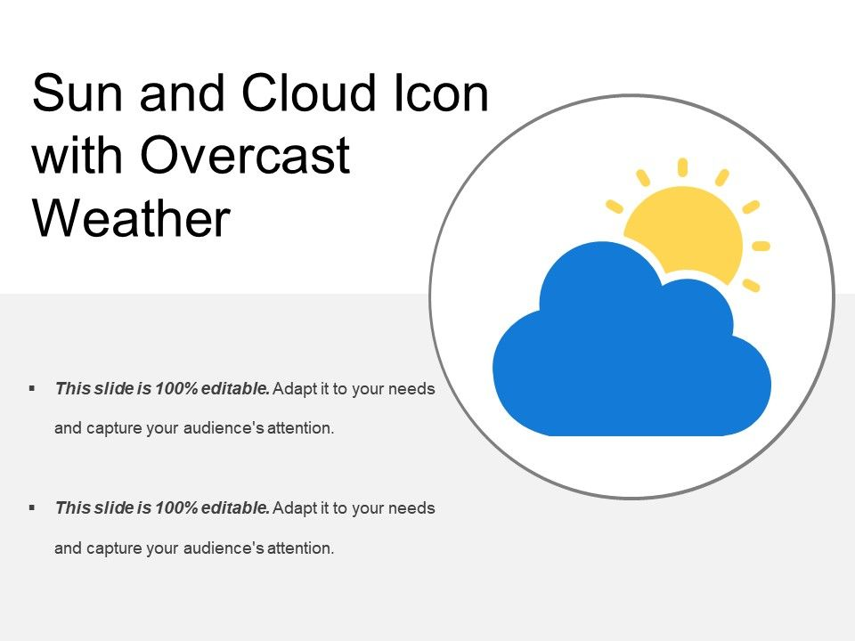 sun and cloud icon with overcast weather presentation powerpoint