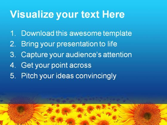 sunflower summer nature powerpoint backgrounds and templates 1210, Modern powerpoint