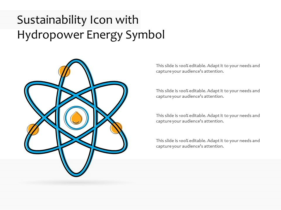 Sustainability Icon With Hydropower Energy Symbol