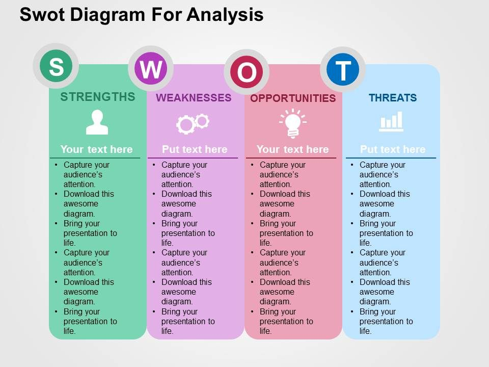 Swot Diagram For Analysis Flat Powerpoint Design  Powerpoint Slide