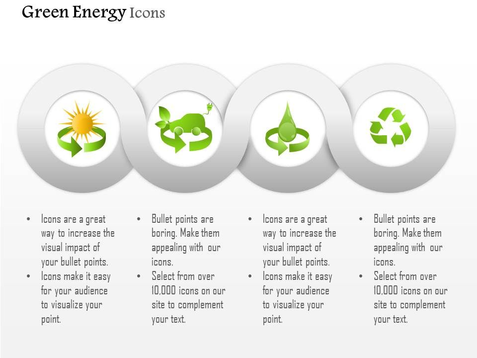 Symbols For Green Energy Production From Sun Water And Waste