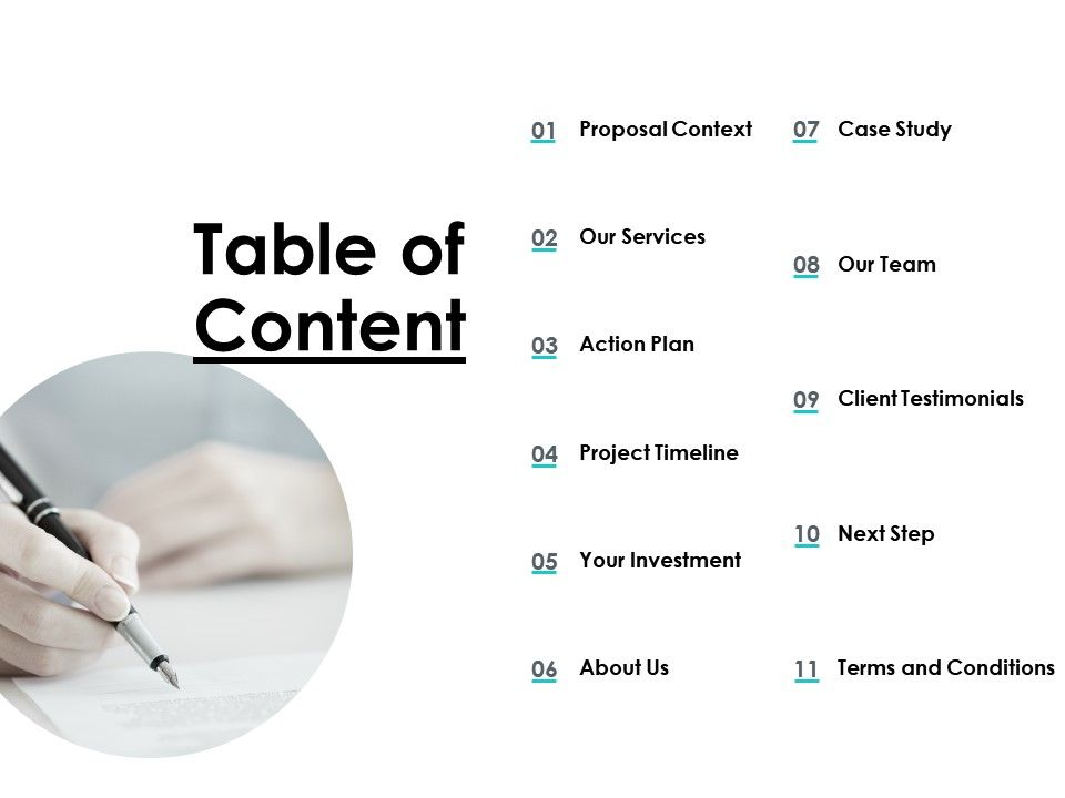 Table Of Content Action Plan Ppt Powerpoint Presentation Slides Show