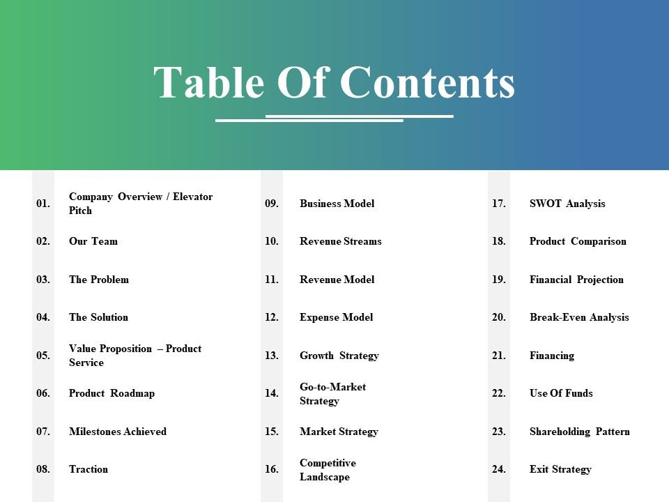 Table Of Contents Ppt Gallery Introduction Powerpoint