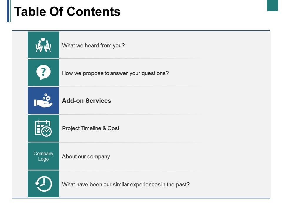 table of contents ppt summary design inspiration