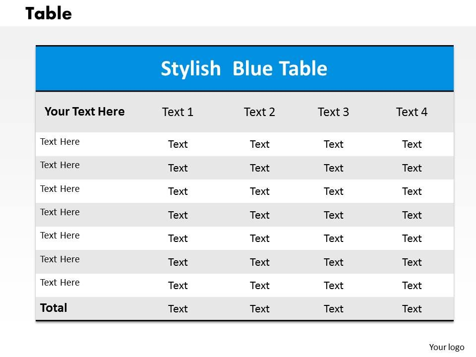Table powerpoint template slide powerpoint slide for Basic html table template