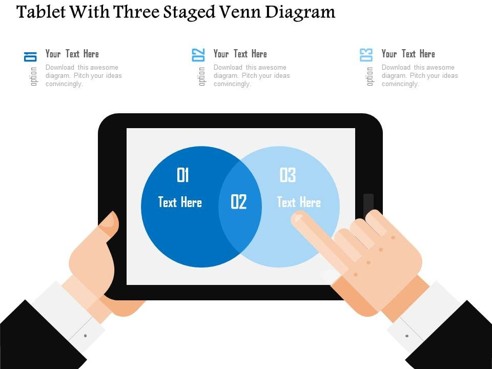 tablet with three staged venn diagram flat powerpoint design, Presentation templates
