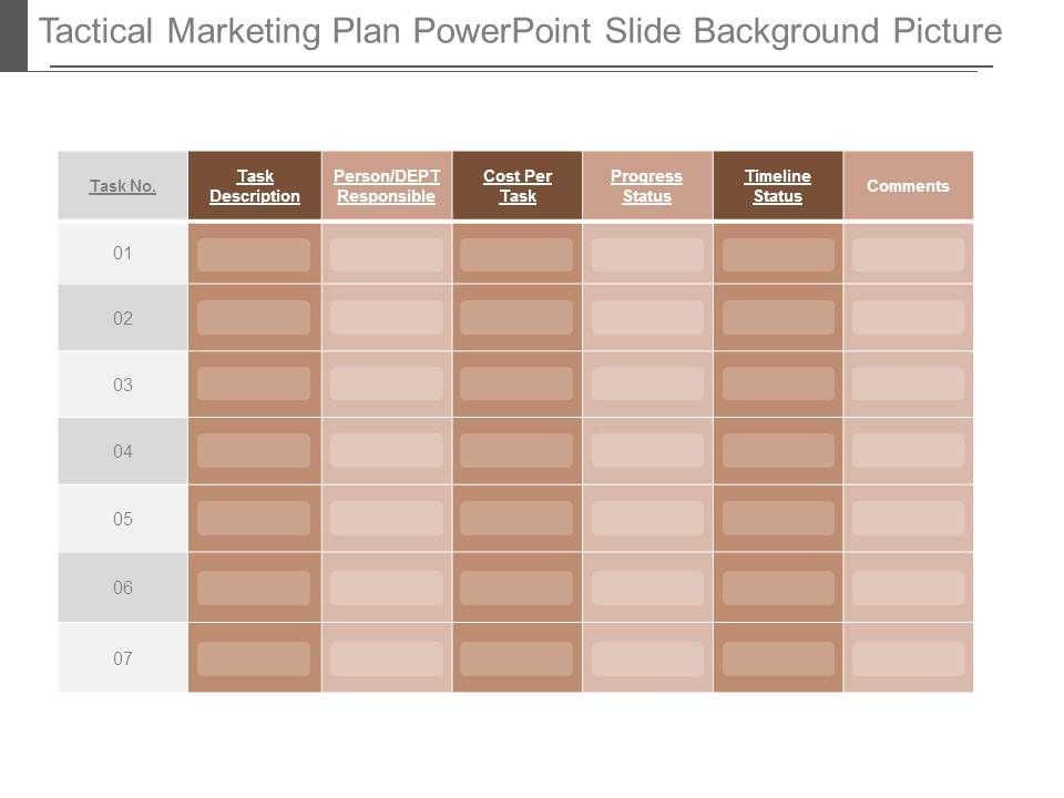 Tactical Marketing Plan Powerpoint Slide Background Picture