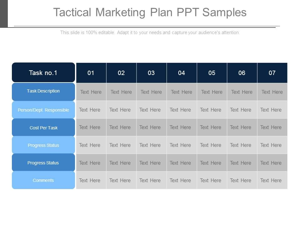 tactical marketing plan ppt samples graphics presentation