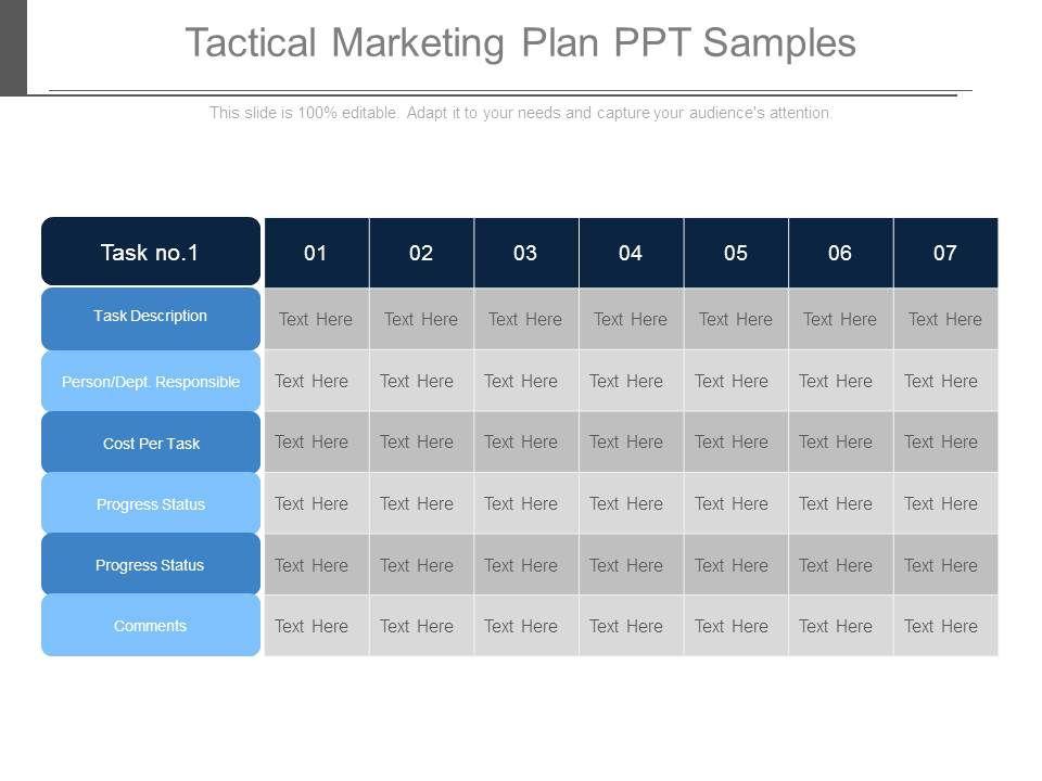 tactical marketing plan ppt samples graphics presentation