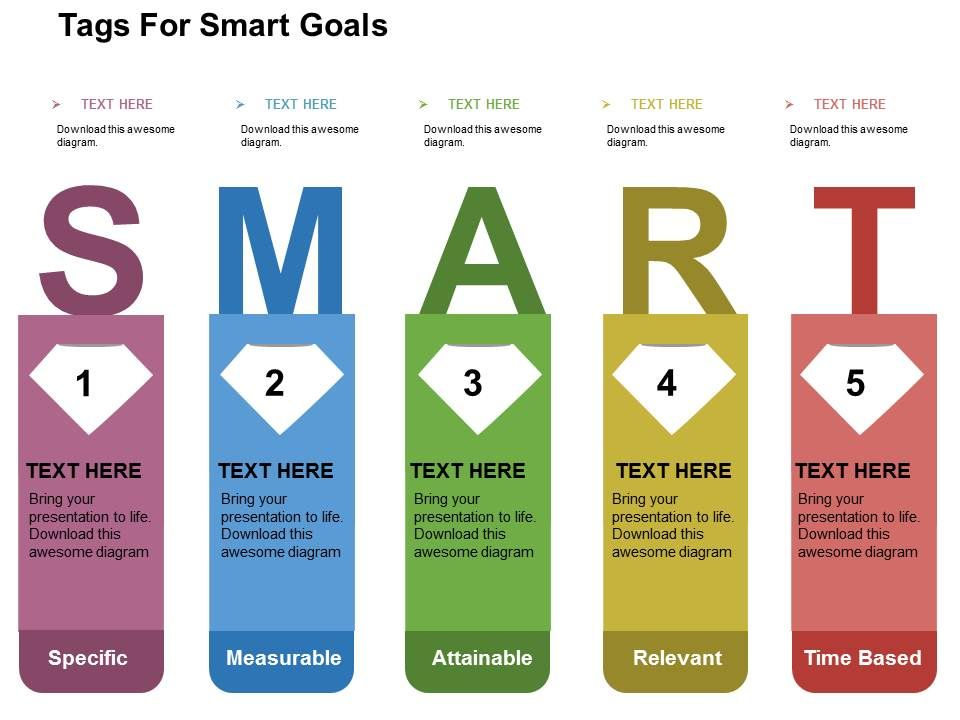 tags for smart goals flat powerpoint design powerpoint rh slideteam net Smart Goals Infographic smart goal tree diagram template