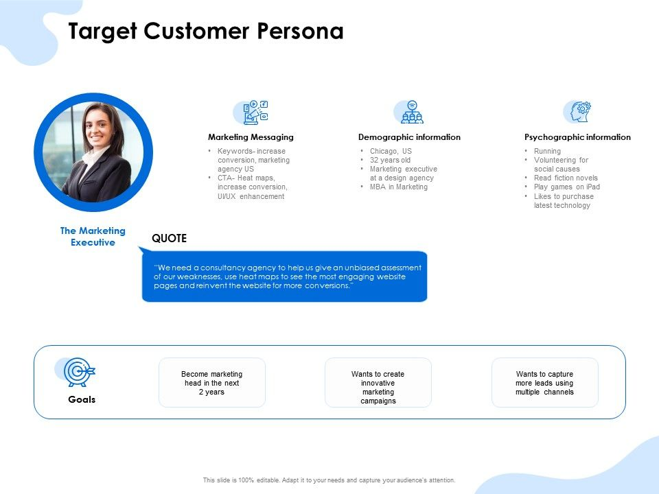 Target Customer Persona Psychographic Information Ppt Powerpoint Presentation