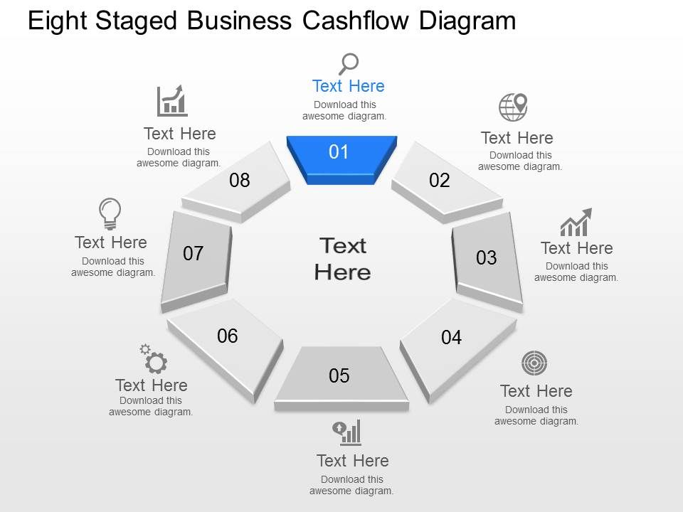 Tc Eight Staged Business Cash flow Diagram Powerpoint Template Slide