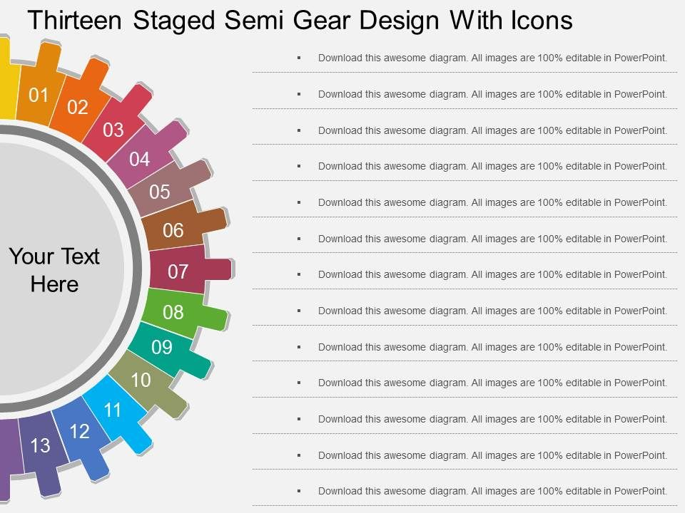 tc_thirteen_staged_semi_gear_design_with_icons_flat_powerpoint_design_Slide01