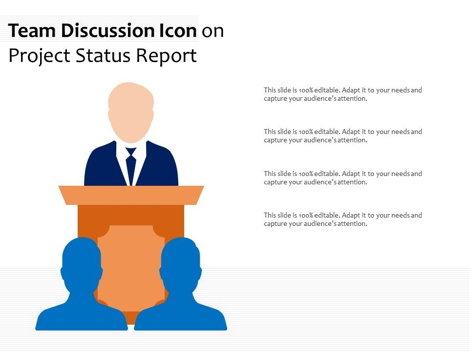 Team Discussion Icon On Project Status Report