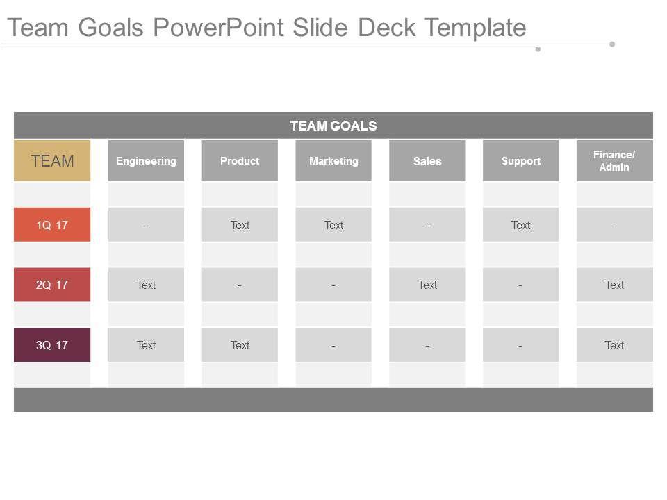team goals powerpoint slide deck template presentation graphics