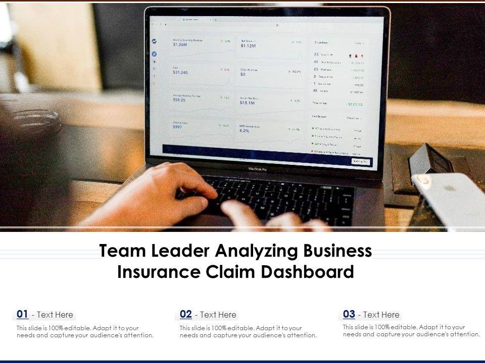 Team Leader Analyzing Business Insurance Claim Dashboard