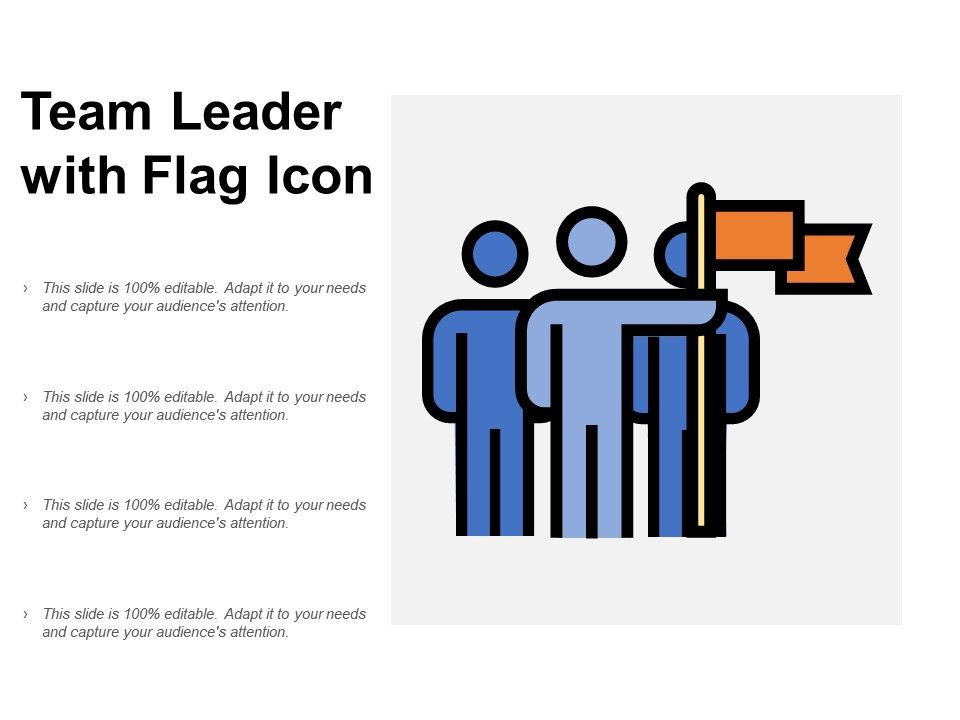 Team Leader With Flag Icon Powerpoint Templates Download Ppt Background Template Graphics Presentation