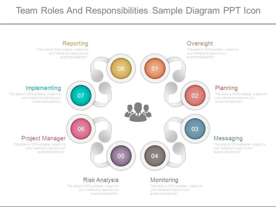 team roles and responsibilities sample diagram ppt icon