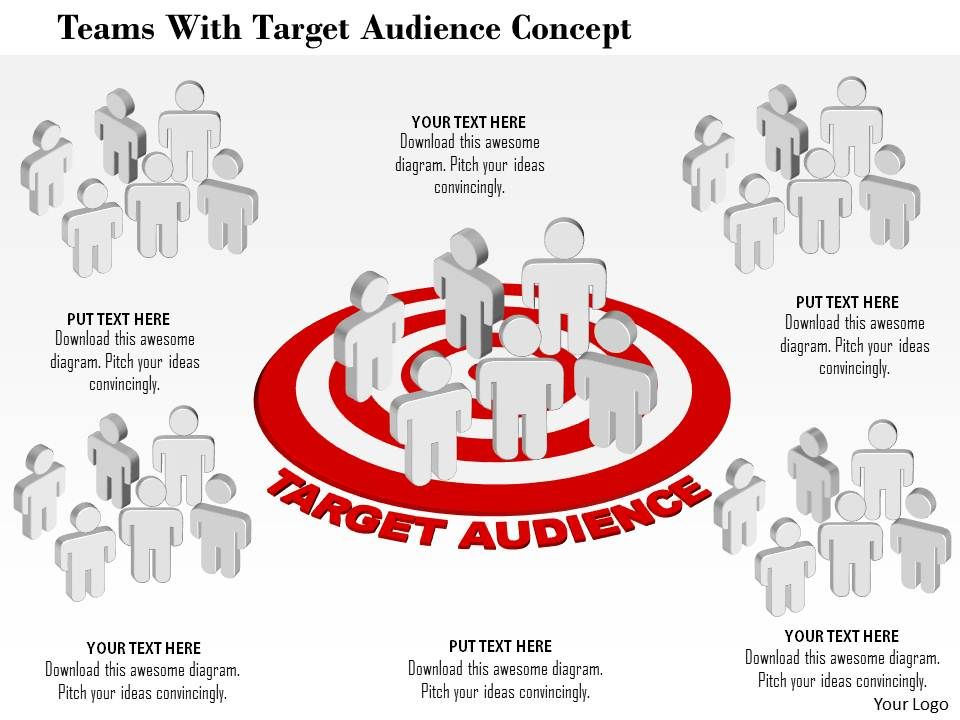 teams with target audience concept powerpoint template