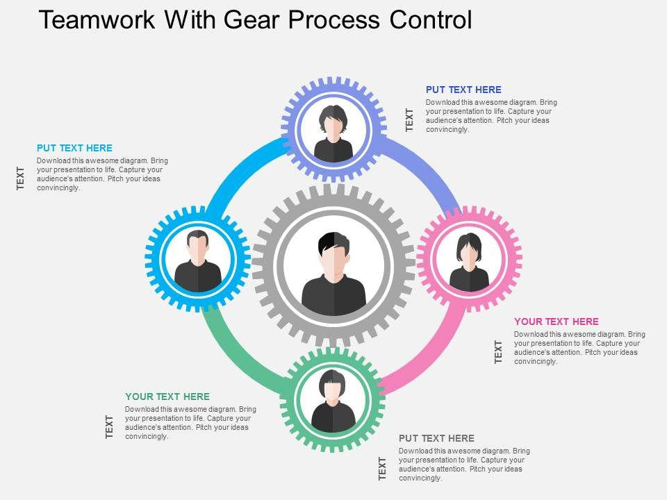 teamwork_with_gear_process_control_flat_powerpoint_design_Slide01