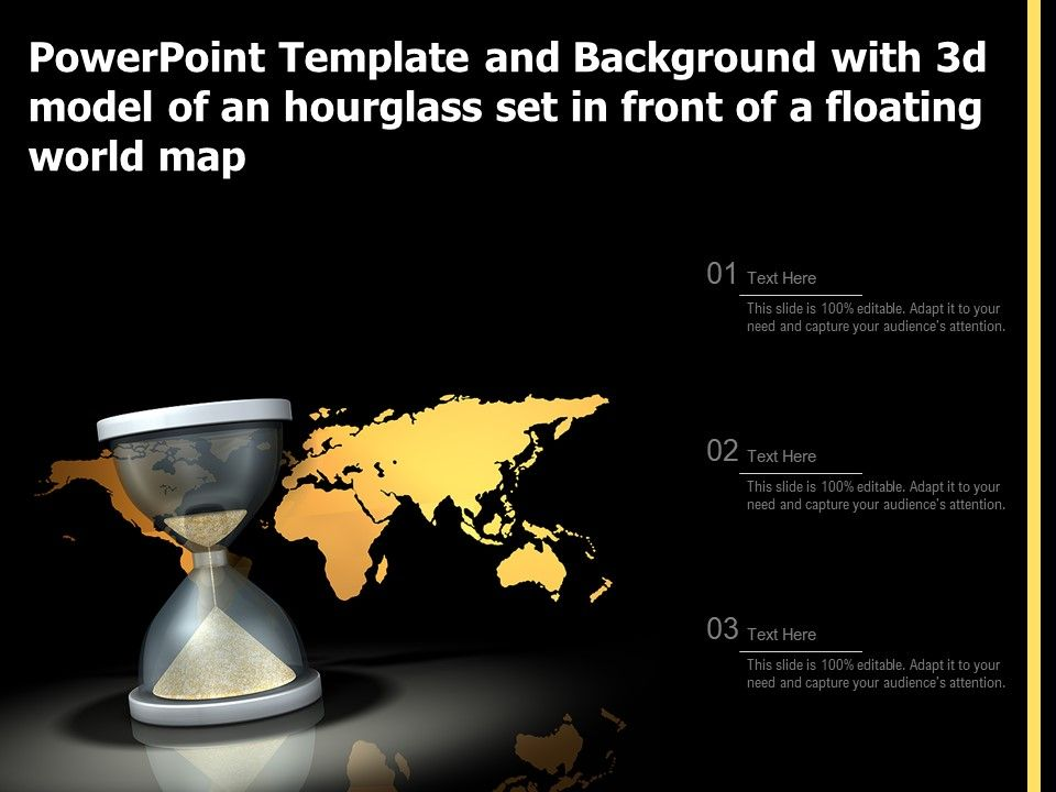Template And Background With 3d Model Of An Hourglass Set In Front Of A Floating World Map