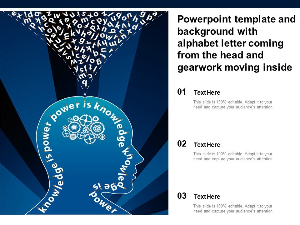 Template And Background With Alphabet Letter Coming From The Head And Gearwork Moving Inside