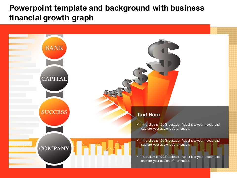 Template And Background With Business Financial Growth Graph Ppt Powerpoint