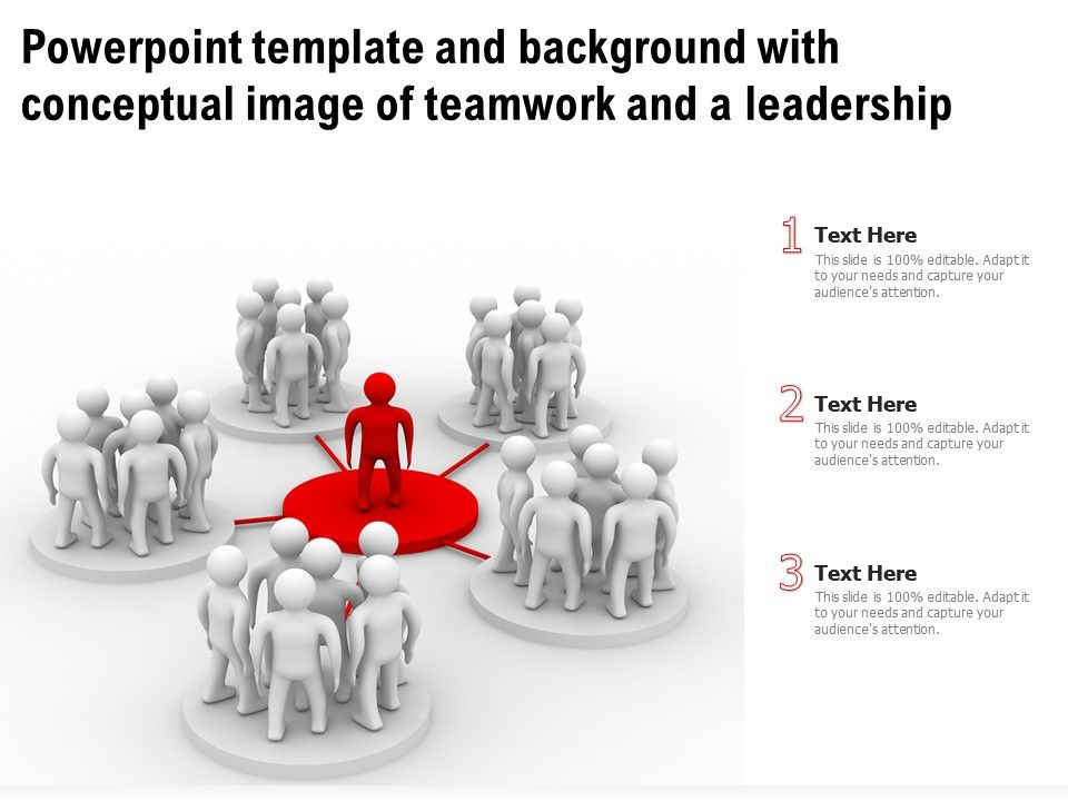 Template Background With Conceptual Image Of Teamwork And A Leadership Ppt Powerpoint