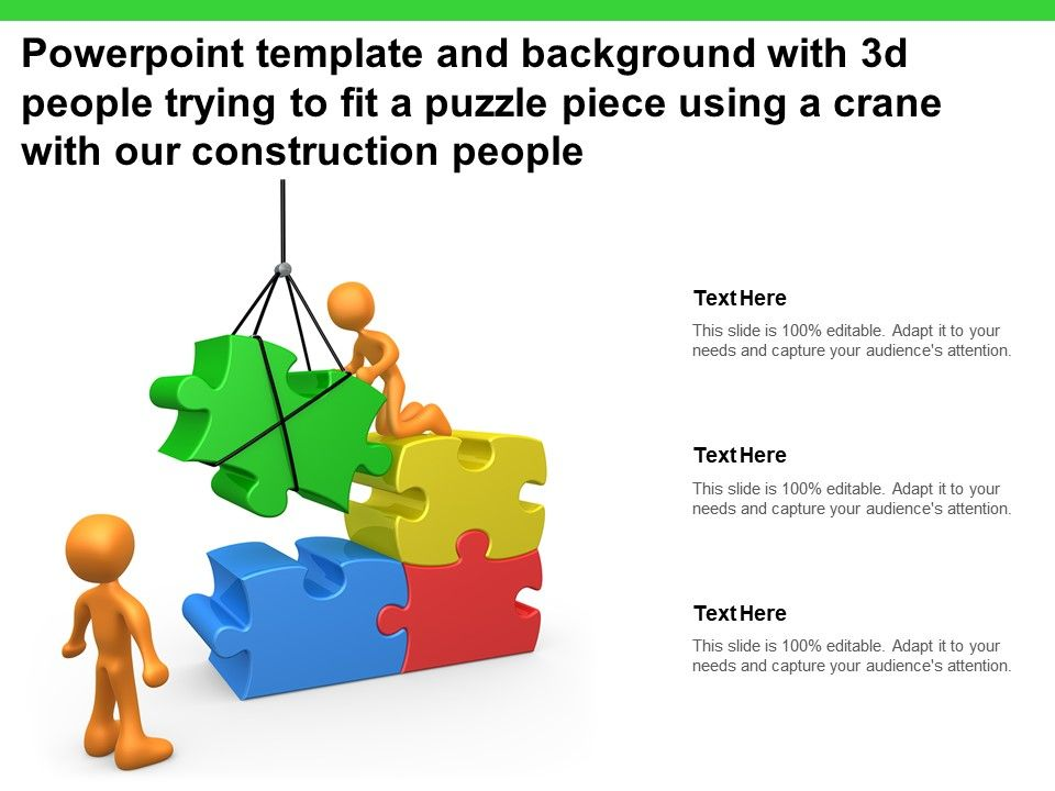 Template With 3d People Trying To Fit A Puzzle Piece Using A Crane With Our Construction People