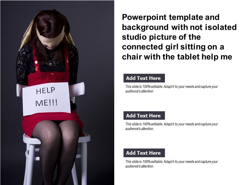 Template With Not Isolated Studio Picture Of Connected Girl Sitting On A Chair With The Tablet Help Me